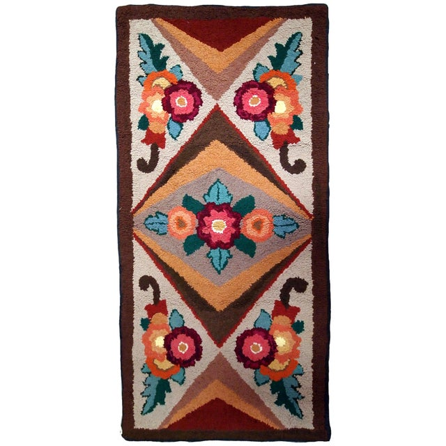 1930s Handmade Antique American Hooked Rug 2.6' X 4.6' For Sale - Image 9 of 9