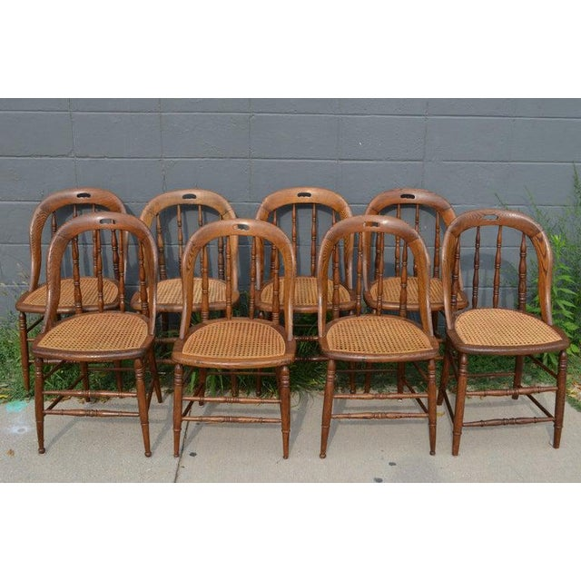 Traditional Dining Room Chairs With Caned Seats. Victorian Windsor Bow Back Style. Set of 8. For Sale - Image 3 of 13