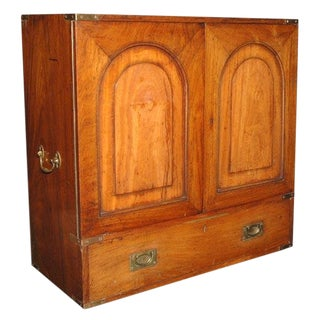 19th Century English Mahogany Campaign Chest For Sale