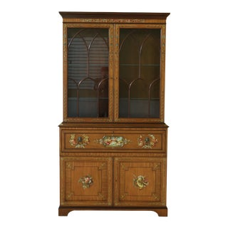 Exceptional Adams Paint Decorated Satinwood Secretary Desk Bookcase For Sale