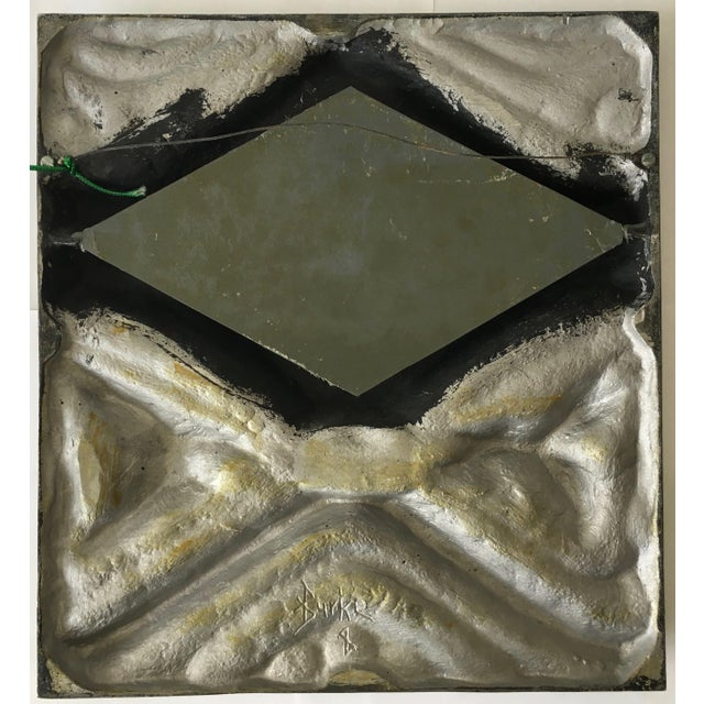 Brutalist Style Pewter Mirror For Sale - Image 5 of 5