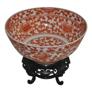 Chinese Bowl on Teakwood Stand