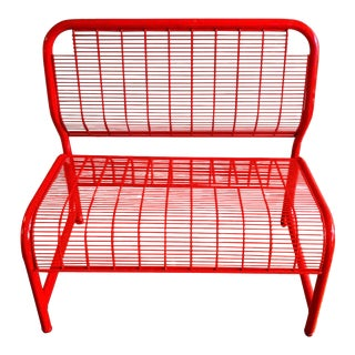 Postmodern Red Metal Bench For Sale