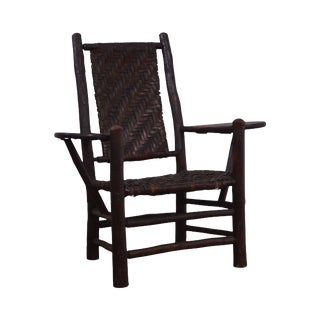 Old Hickory Antique Rustic Drop Side Student Armchair For Sale