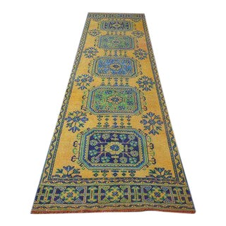 1960s Vintage Turkish Oushak Hand-Knotted Runner Rug - 3′ × 11′5″ For Sale