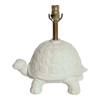 Modern White Plaster Turtle Table Lamp For Sale