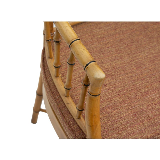 Caning Faux Bamboo Armchair With Caned Seat For Sale - Image 7 of 10