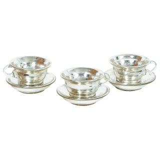 Mercury Glass Cups And Saucers - Set of 3 For Sale