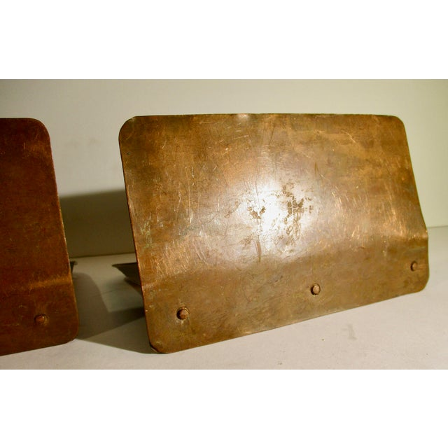 Arts and Crafts Pierced Copper Bookends - a Pair For Sale - Image 4 of 6