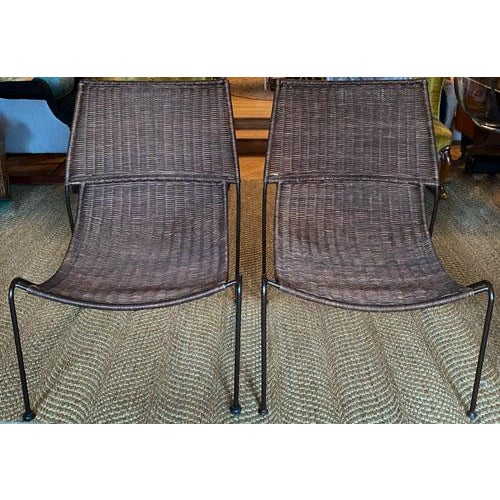 Mid-Century Modern Scoop Form Rattan Lounge Chairs in the Manner of Frederick Weinberg - a Pair For Sale - Image 3 of 10