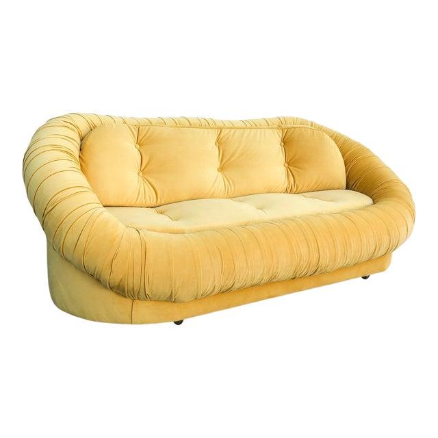 Vintage Lemon Yellow Velvet Reupholstered Loveseat For Sale