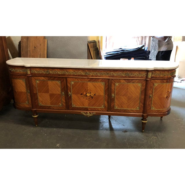 French Louis XVI Mahogany Marble Top Enfilade For Sale - Image 9 of 9