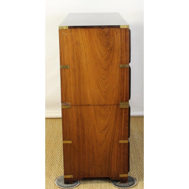 Gold English Rosewood Campaign Chest of Drawers For Sale - Image 8 of 13