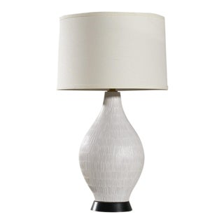 White Incised Design Technics Table Lamp For Sale