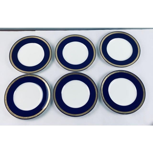 Ceramic Tiffany Gold & Cobalt Blue Rimmed Dinner Plates - Set of 6 For Sale - Image 7 of 13