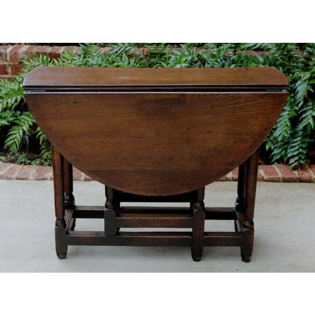 Antique English Traditional Oak Table Drop Leaf Gate Leg Farmhouse Sofa Table For Sale - Image 12 of 13