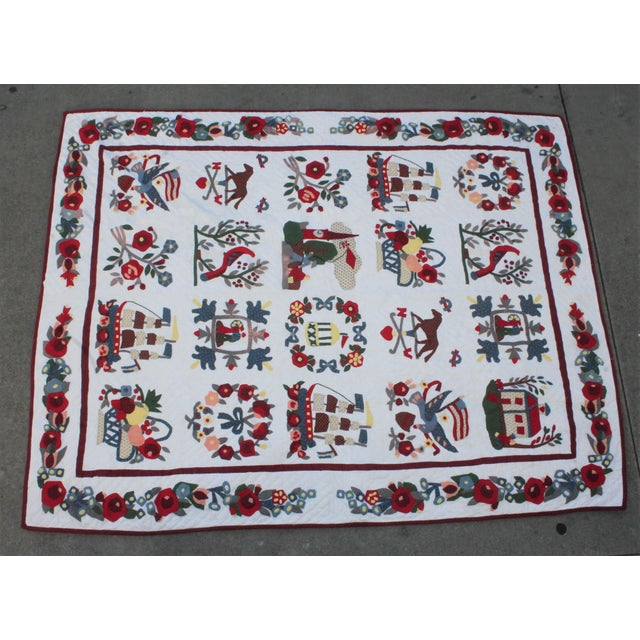 This beautifully designed quilt is an amazing representation of folk Art Repro. This hand made applique quilt was made...