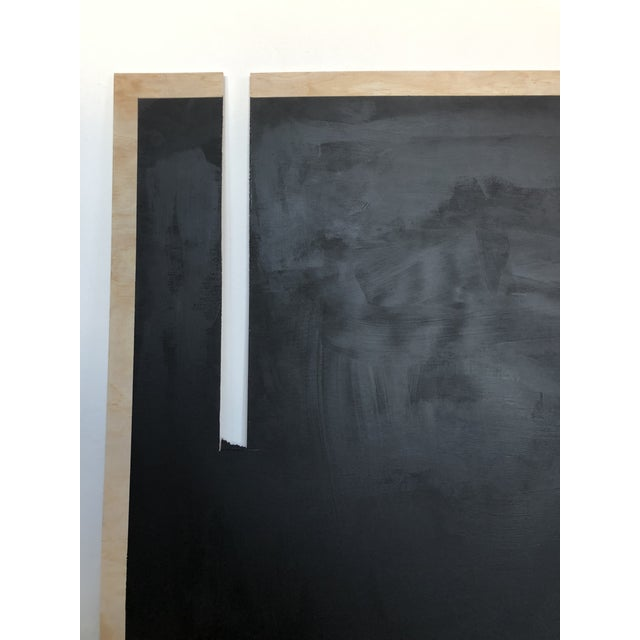 "Hannah Polskin original 2018 black abstract acrylic painting on plywood. 42"" x 48"" with negative space slit. Shipping..."