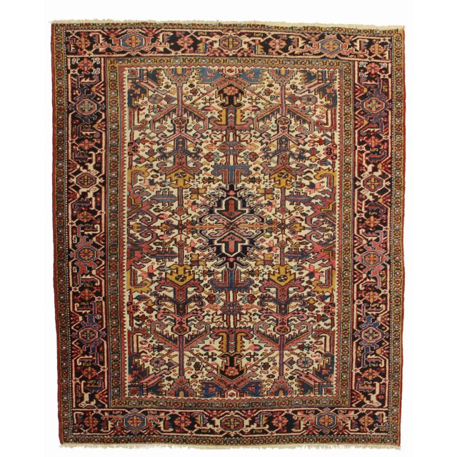 Vintage Hand Knotted Wool Persian Hariz Rug - 6′6″ × 7′11″ For Sale
