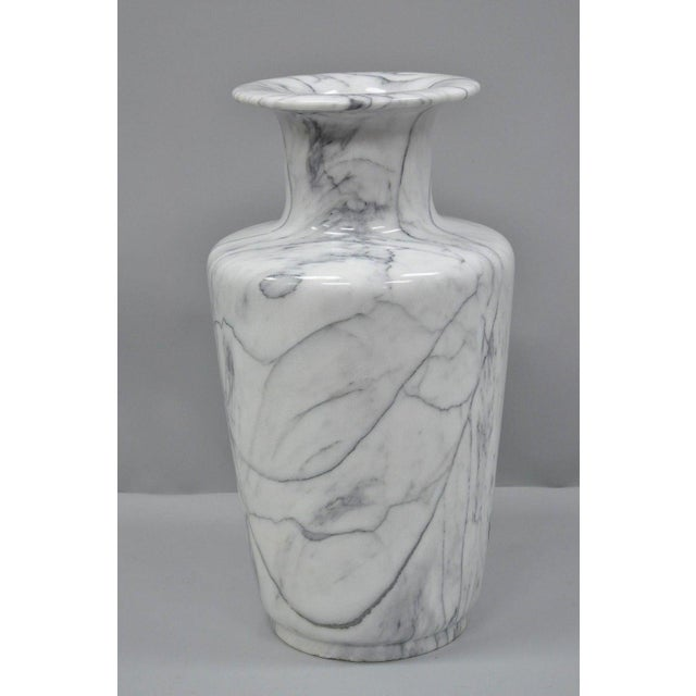 White Carved & Painted Tiger Oriental Scene White Marble Vase Vessel For Sale - Image 8 of 13