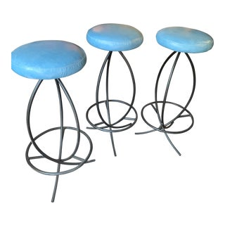 1970s Vintage Wrought Iron Barstools- Set of 3 For Sale