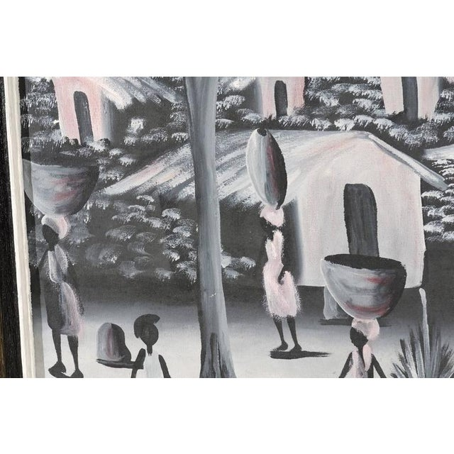 Canvas Vintage Haitian Village Painting For Sale - Image 7 of 8