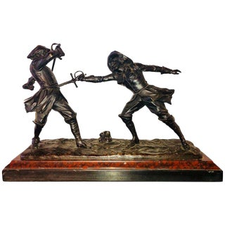 Edouard Drouot French Bronze Depicting Two Fencers on Marble Base For Sale