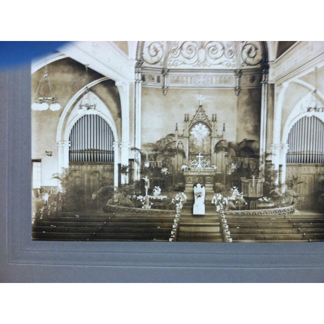 "Americana Early 20th Century Antique ""Church Alter"" Mounted Black & White Photograph For Sale - Image 3 of 4"