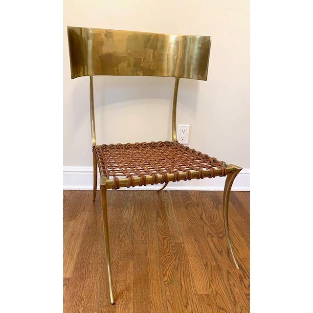 Traditional Scala Luxury Brass Leather Klismos Chair For Sale - Image 3 of 12