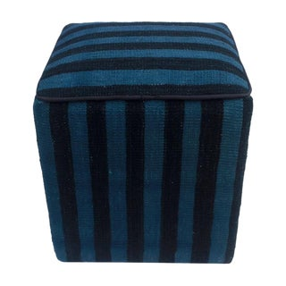 Arshs Donnie Black/Blue Kilim Upholstered Handmade Ottoman For Sale