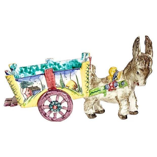 1960s Italian Ceramic Donkey Planter For Sale