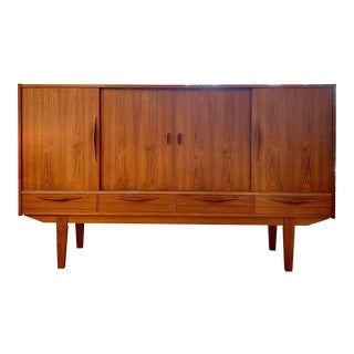 1960s Danish Mid Century Modern Tall Sideboard / Credenza For Sale