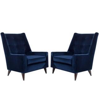 Harvey Probber Lounge Chairs in Navy Velvet For Sale