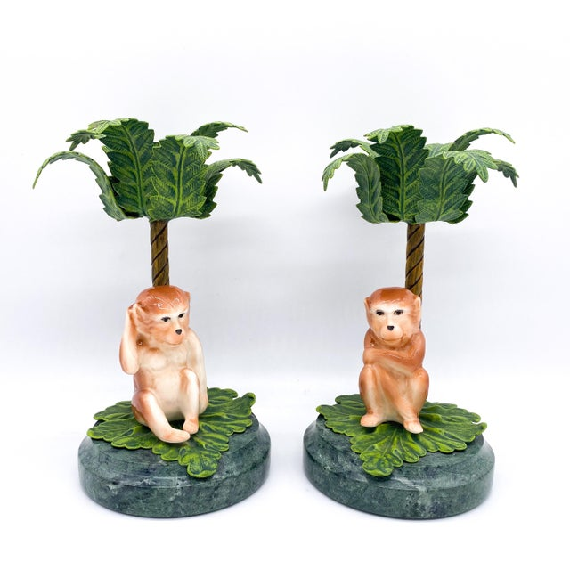 20th Century Hollywood Regency Monkey Palm Tree Tole, Ceramic and Marble Candlesticks- a Pair For Sale - Image 10 of 10