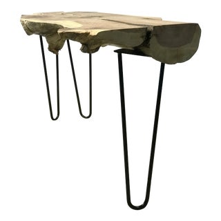 Industrial Handcrafted Live Edge Walnut Console Table on Hairpin Legs For Sale
