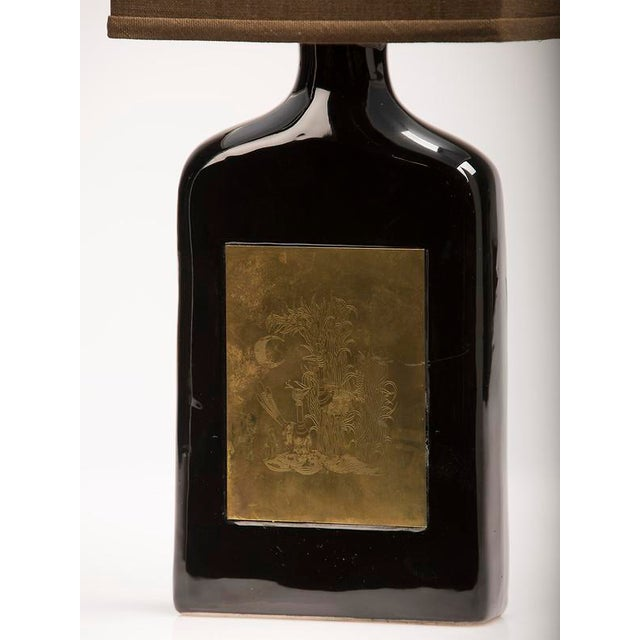 Glazed Ceramic Bottle, Etched Brass Panels, France c.1960, Custom Lamp and Shade For Sale In Houston - Image 6 of 6