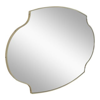 Large Shield Oval Scallop Anodized Aluminum Frame Wall Mirror For Sale