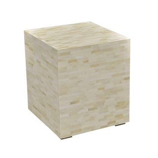 White Bone Brick Side Table For Sale