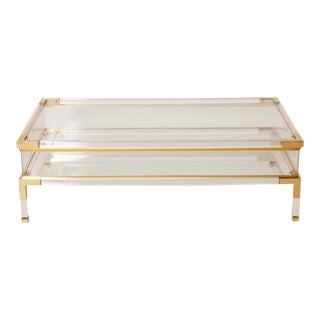 French Brass, Lucite, & Glass Sliding Top Coffee Table C. 1960 For Sale