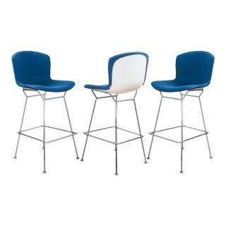 Bertoia Upholstered Barstools in Fiberglass & KnollTextiles Fabric - Set of 3 For Sale