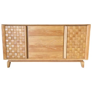 "Paul Laszlo Bleached Oak Basketweave ""1656"" Buffet Cabinet for Brown and Saltman For Sale"
