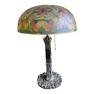 Antique Reverse Painted Desk Lamp With Butterflies Shade For Sale