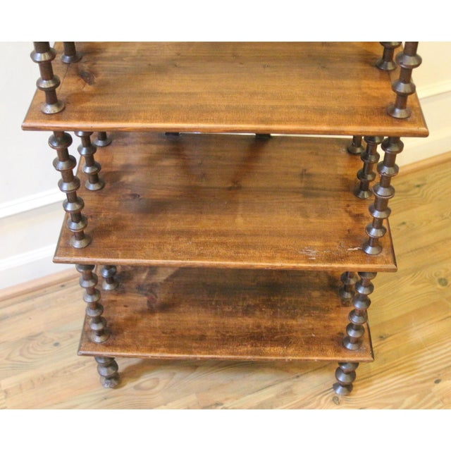 Late 19th Century. Antique Rustic Folk Art Wooden Spool Shelves For Sale In Raleigh - Image 6 of 13