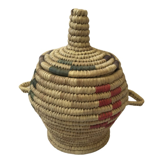 """Vintage Hand Woven Grass Basket """"Jar With Lid"""" For Sale"""