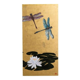 A Large Goldleafed Panel titled Dragons on Golden Pond by Lily Lewis For Sale