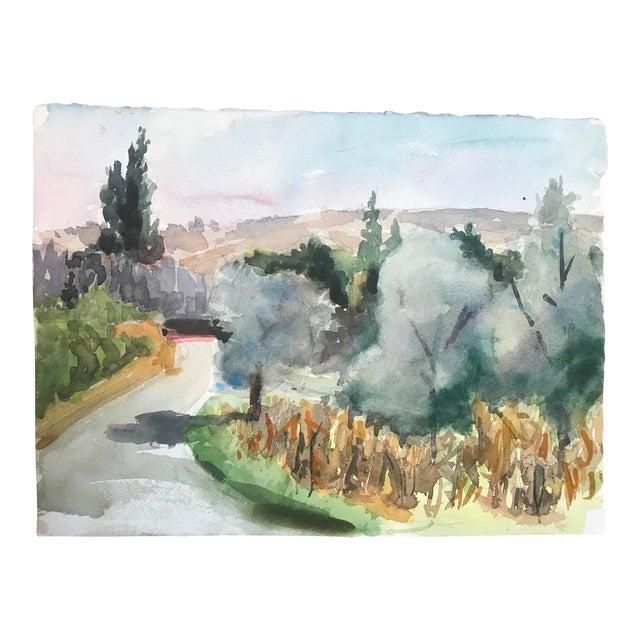 1980s European Watercolor Landscape Painting For Sale