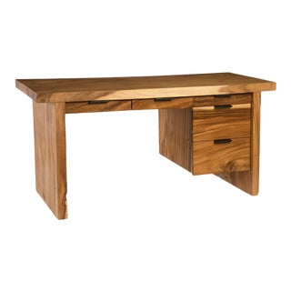 Phillips Collection Chamcha Wood Desk w/Drawers For Sale