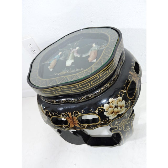 Vintage Chinese Black Lacquer Figural Side Table With Glass Top For Sale In Tampa - Image 6 of 7