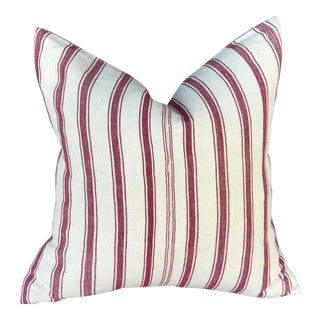 Hand-Woven Burgundy Striped Tribal Pillow For Sale