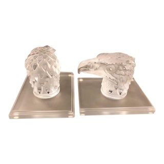 1930s Lalique Eagle Crystal Bookends - a Pair For Sale